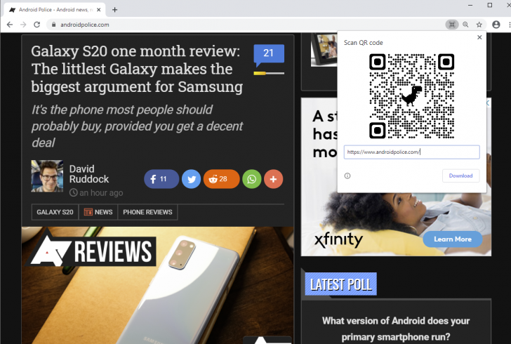 Chrome Qr Code Sharing Feature Goes Live In Canary With A Little Dino Help Tech Mi Community Xiaomi
