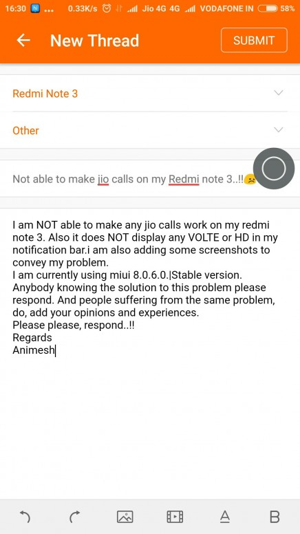 Not able to make jio calls on my Redmi note 3  !! - Redmi