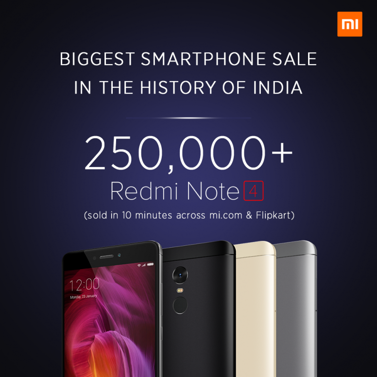 2 5 lakh units of Xiaomi Redmi Note 4 sold in 10 minutes
