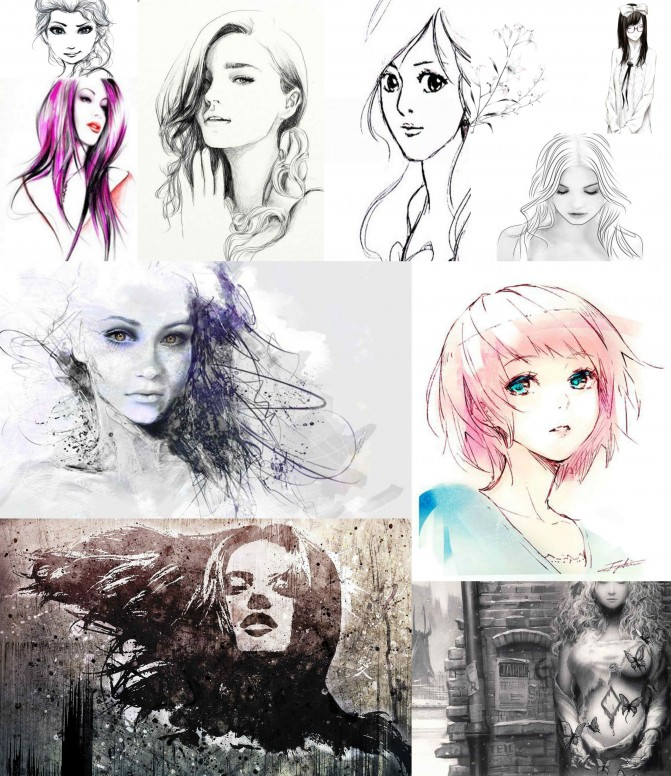 Rt beautiful girls pencil sketch wallpapers for your mi devices