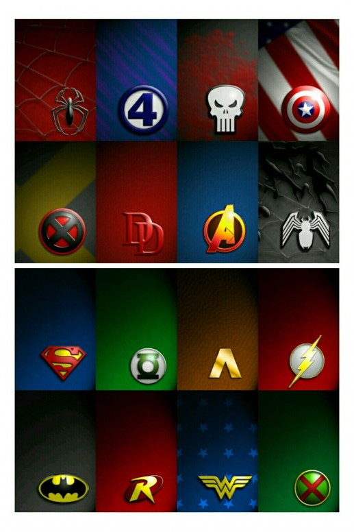 Marvel And Jla Characters Logos Wallpaper Resources Mi