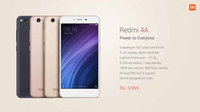 Redmi 4A Launched at 5,999 INR! First Sale on 23rd March on mi.com and Amazon