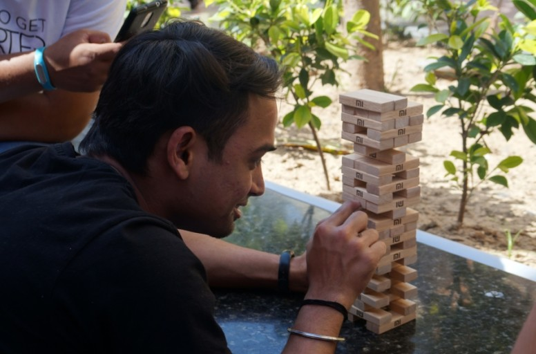 Keshav Bhai in between the Jenga Tournament