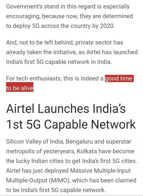 Airtel 5G Rolled Out In Kolkata, Bengaluru – 5G Wave Hits
