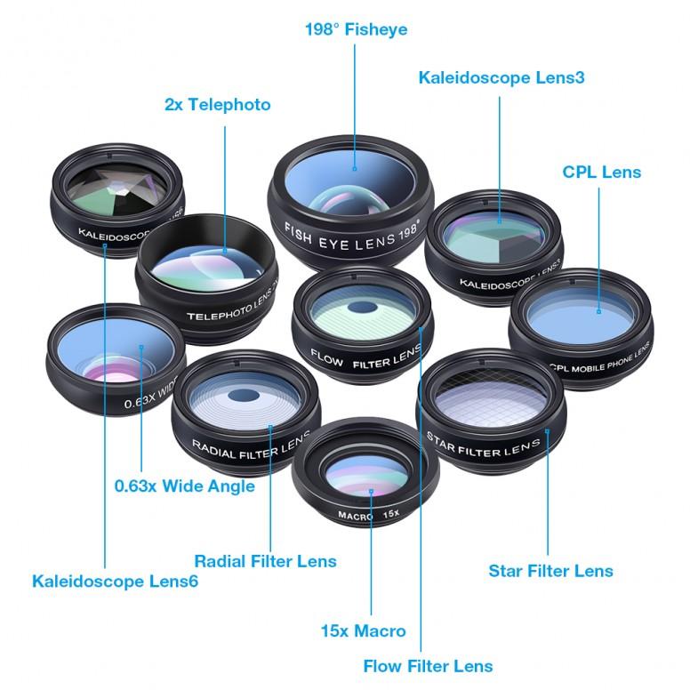 [PT] Apexel 10 in 1 Combo Macro+Wide+Fisheye+Zoom+CPL+Kaleidoscope+Flow+Radial+Star Filter [Mi5]