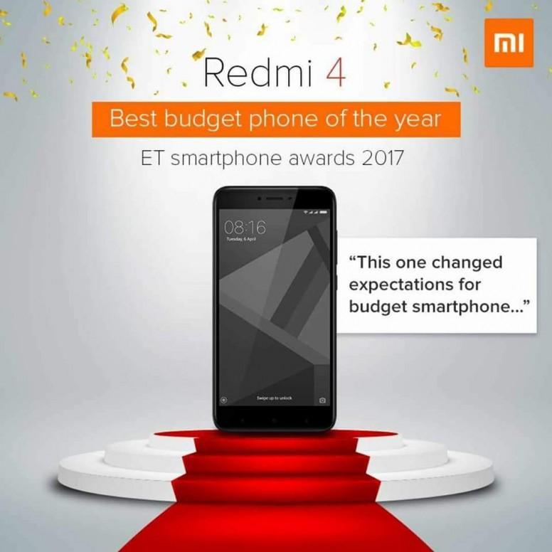 "Xiaomi India premio ""lo mejor de 2017"" Economic Times - Redmi 4"