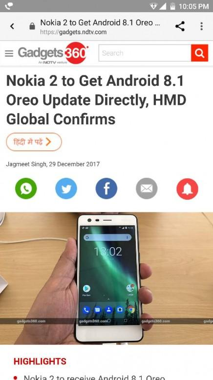 nokia 2 android 8.1 release date