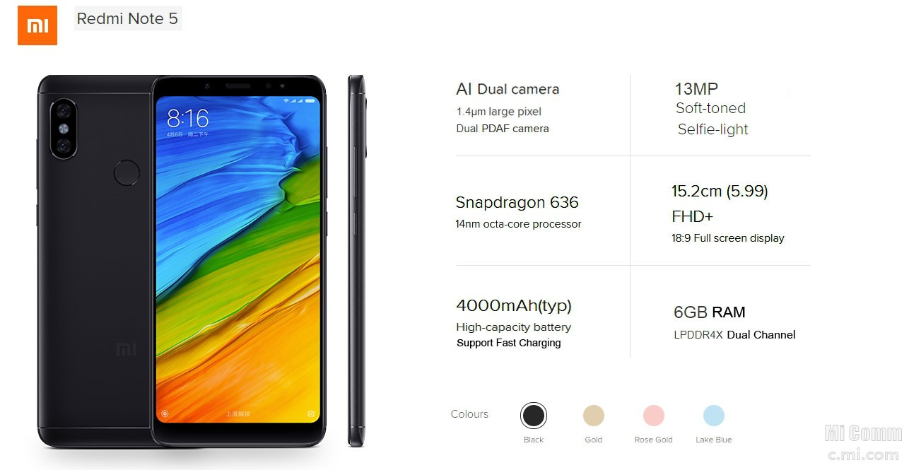 Redmi Note 5 China (Key specifications & Price) - Mi News