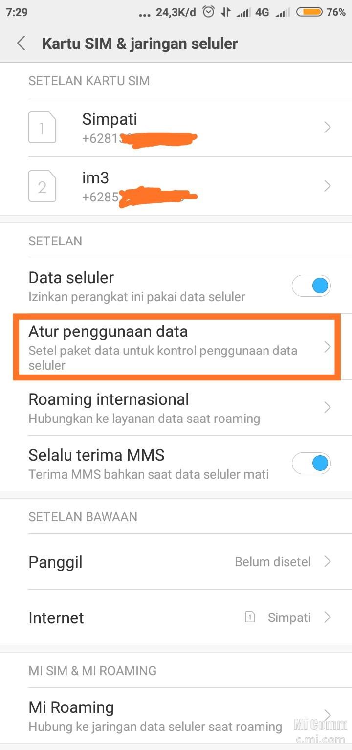 Pantau Penggunaan Kuota Data Xiaomi Redmi 4x Redmi 4x Mi