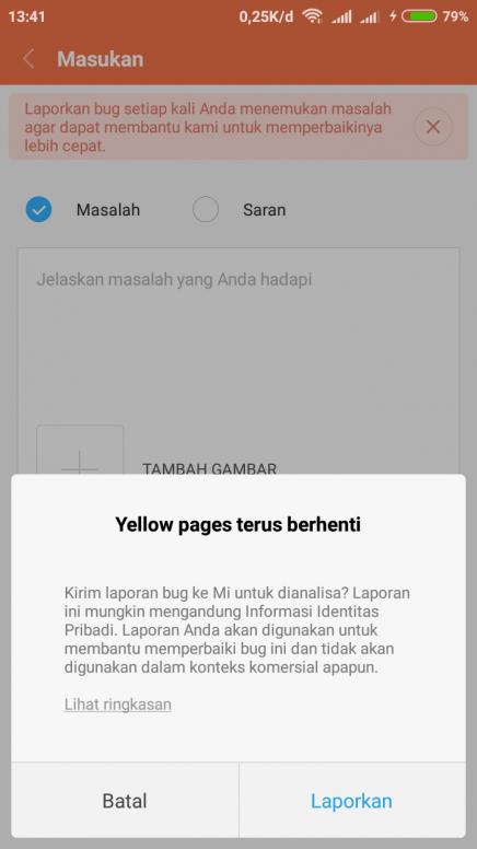 Muncul peringatan Yellow Page telah berhenti - Redmi 4X - Mi