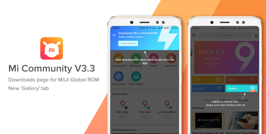 Mi Community App V3.3: MIUI ROM download section, new Gallery feature