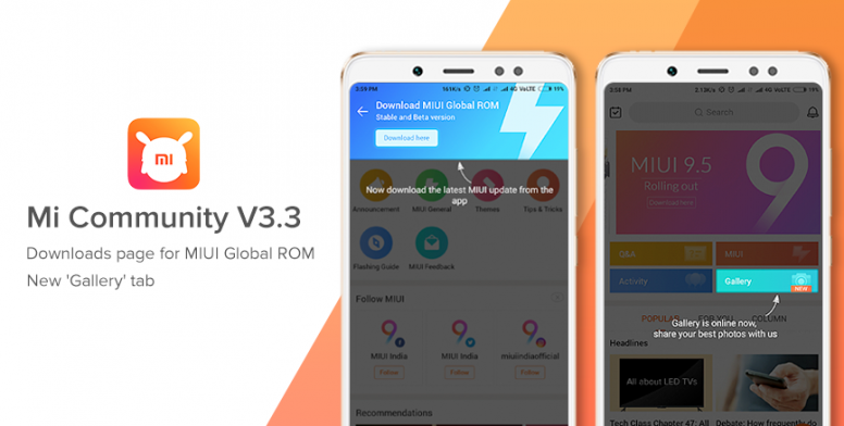 Mi Community App V3 3: MIUI ROM download section, new Gallery