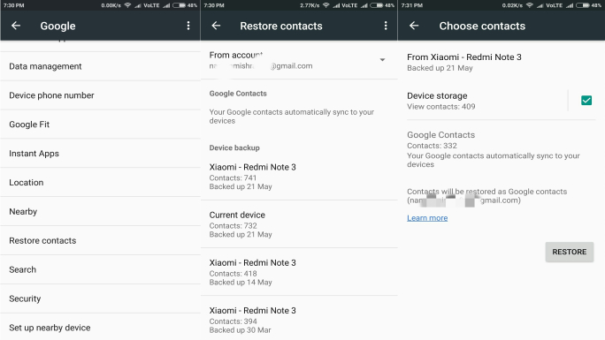 how to take backup of contacts in redmi note 4
