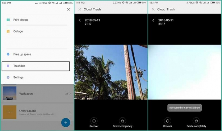 Trash Bin : Recover Your Accidentally Deleted Photos - MIUI