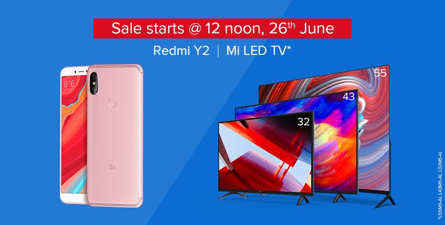 26th June Sale Redmi Y2 Mi TV