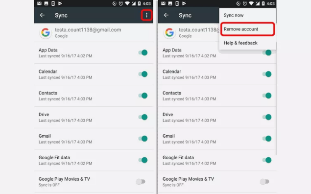 how to remove gmail account from phone app