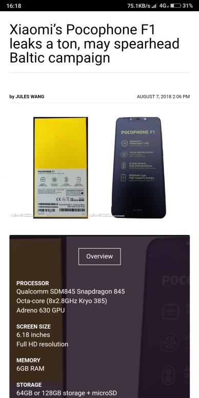 spesifikasi Xiaomi Pocophone