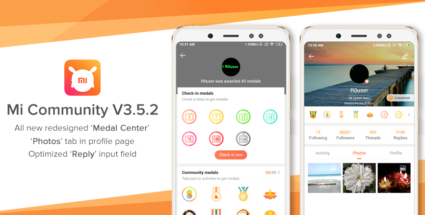 Introducing Mi Community V3.5.2: redesigned 'Medal Center', 'Photos' tab in profile