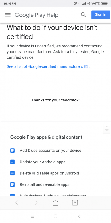 Google Play Store \'s play protect certification is not certified ...
