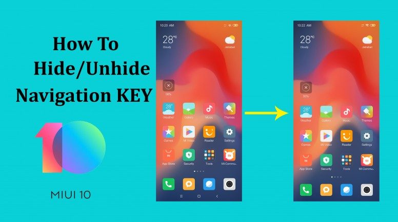 How To Hide-Unhide Navigation Key On MIUI 10 - Tips and