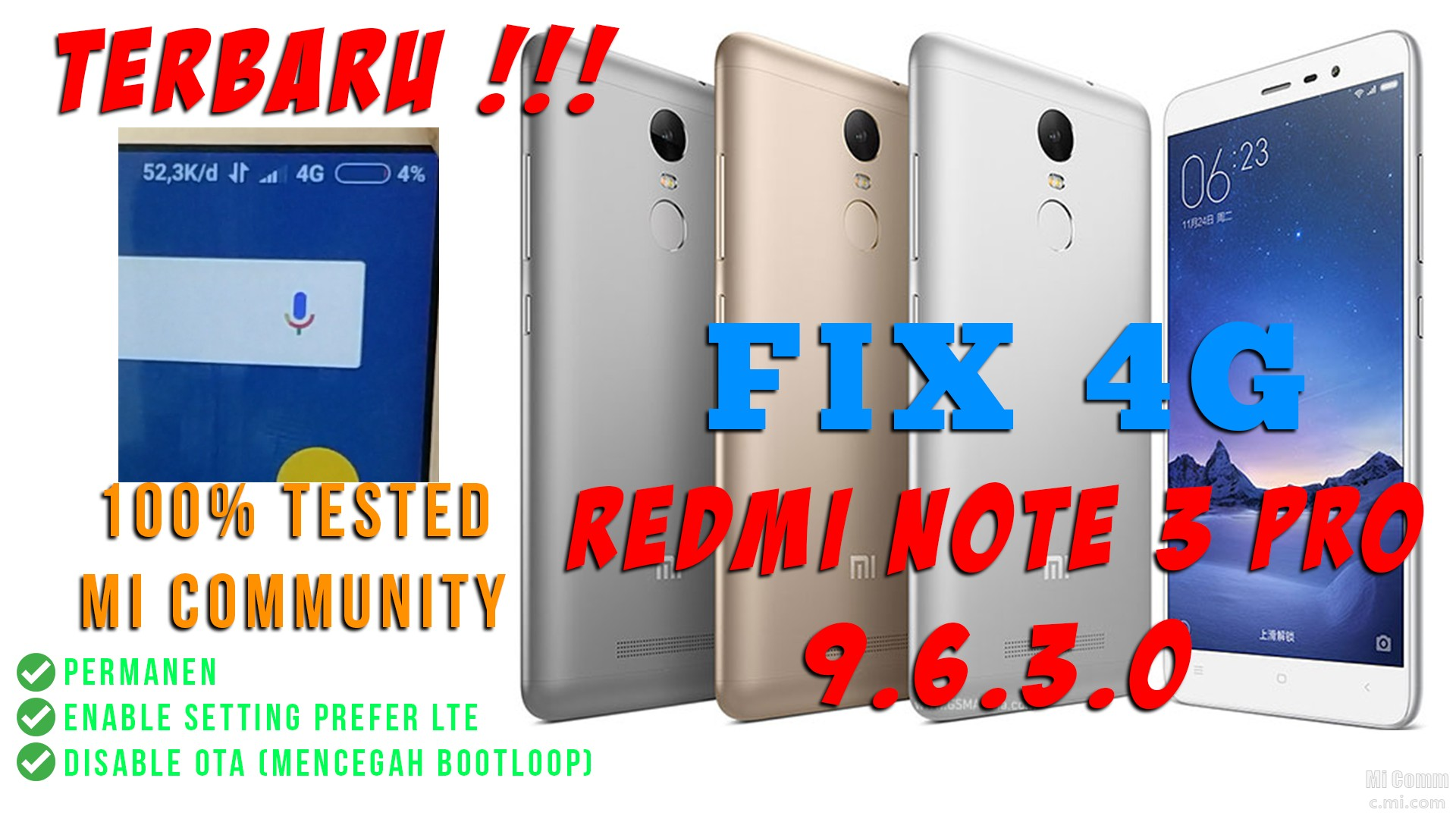 Fix 4G Redmi Note 3 Pro (Kenzo) Global Stable 9 6 3 0 [UBL