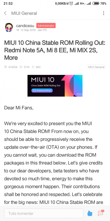 MIUI 10 ROM China Stable!!! Redmi Note 5A / Redmi Note 5A