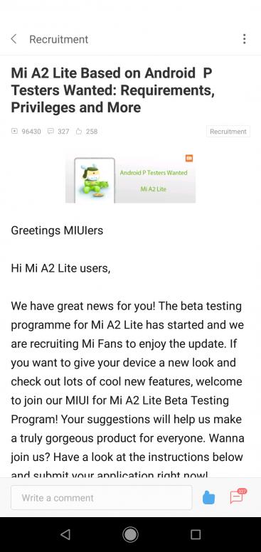 Android P Beta program Available - Mi A2 Lite - Mi Community