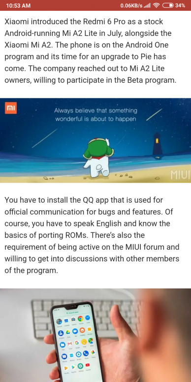 Xiaomi opens Android Pie Beta program for Mi A2 Lite - Announcement