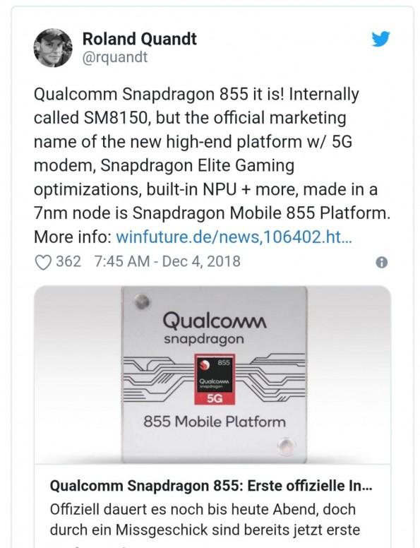 TSMC to Produce Qualcomm's 5G Soc Called Snapdragon 855
