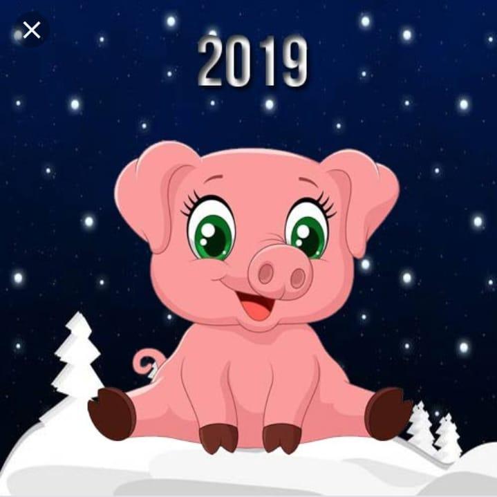 Рождеством всех, открытка с символом года 2019