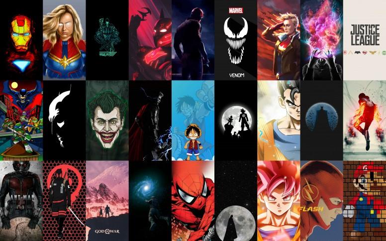 Süper Kahraman Anime Ve çizgifilm Karakterlerinin Arka Plan