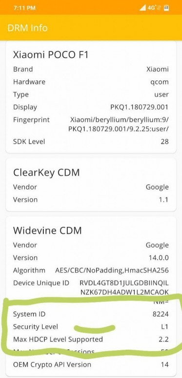 Updated) The Xiaomi Poco F1 Gets Widevine L1 Support in the latest