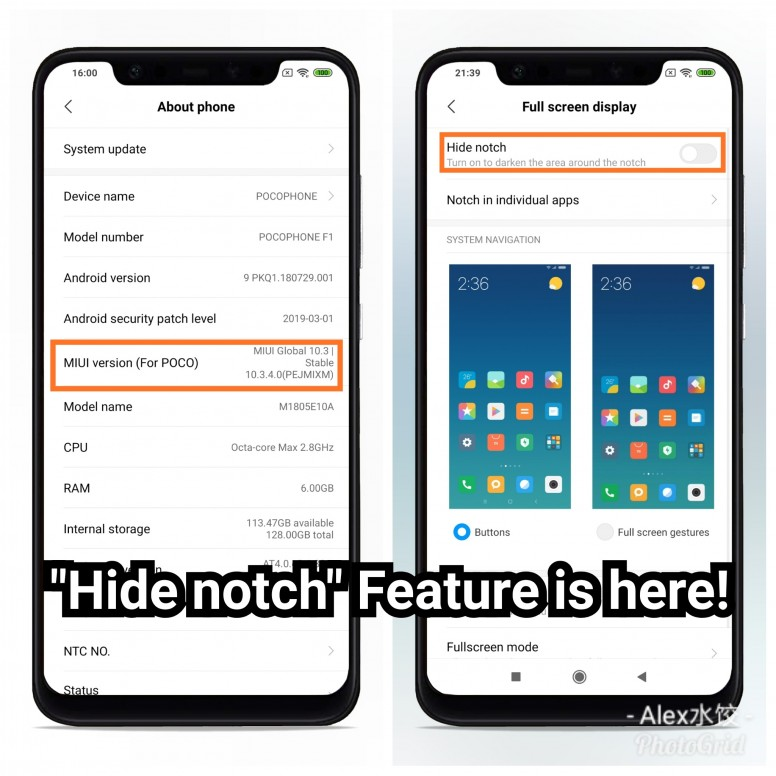 Hide Notch feature is available on Pocophone F1! - POCO F1