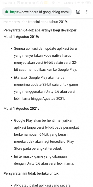 Google akan menghapus Aplikasi 32Bit dari Play Store - Redmi S2 - Mi