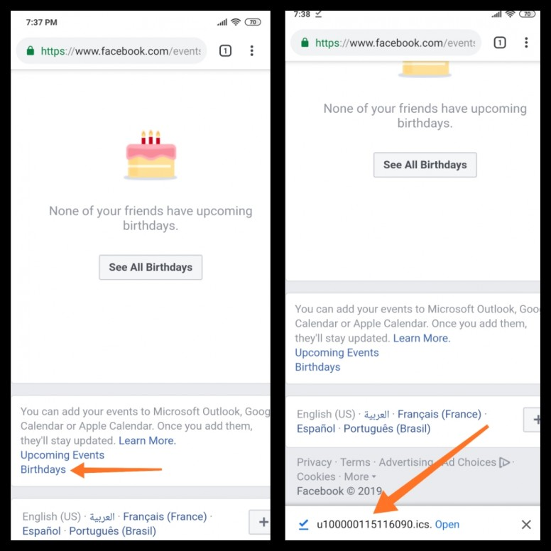 Tutorial to show Facebook Birthdays on MIUI Calendar App