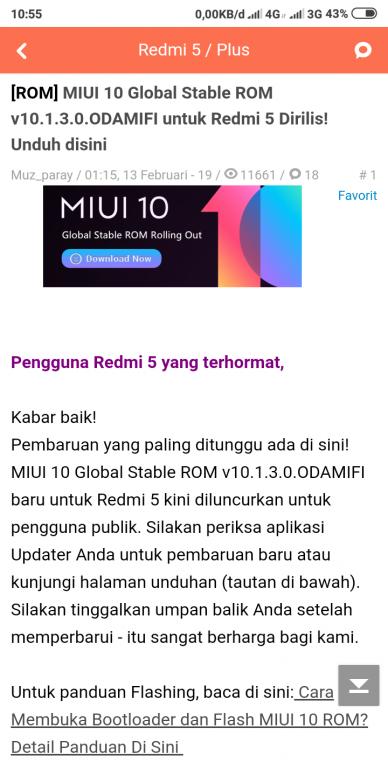 update manual MIUI 10 di redmi 5 versi nougat ke oreo aman