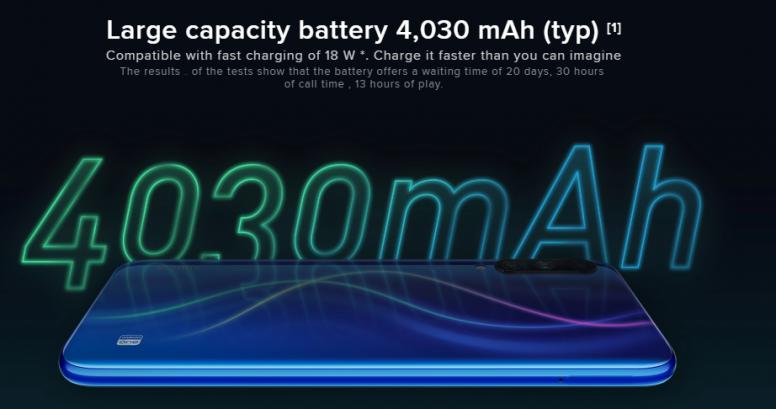 小米 A3 内置 4030mAh 电池,支持 QC 3.0 kuai'chong'xie'yi
